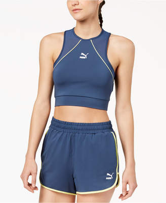 Puma Colorblocked Mesh-Inset Racerback Cropped Tank Top
