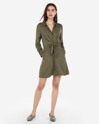 Express Knot Front Button Shirt Dress