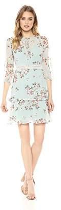 Donna Morgan Women's 3/4 Sleeve Printed Chiffon Dress