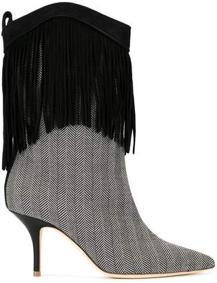 Malone Souliers Black PRESLEY 70MM FRINGED BOOTIES