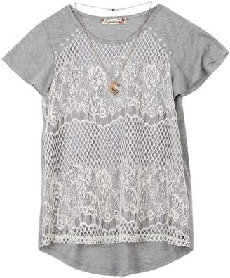 Speechless Girls 7-16 Crochet Lace Overlay Top with Necklace