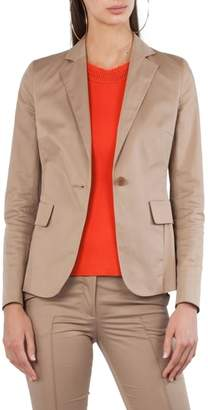 Akris Punto One Button Stretch Cotton Blazer