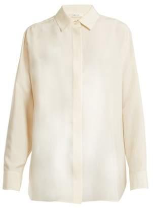 The Row Big Sisea Point Collar Silk Poplin Shirt - Womens - Cream
