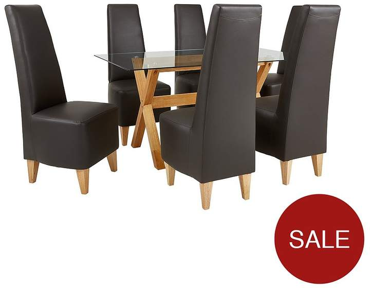 Venla 150 Cm Solid Wood And Glass Dining Table + 6 Manhattan Chairs