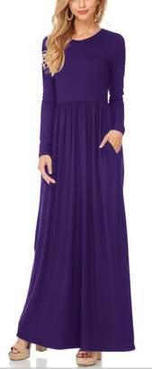 FANTIGO Women Long Sleeve Maxi Dress with Pockets Loose Swing Casual Long Dresses XXL