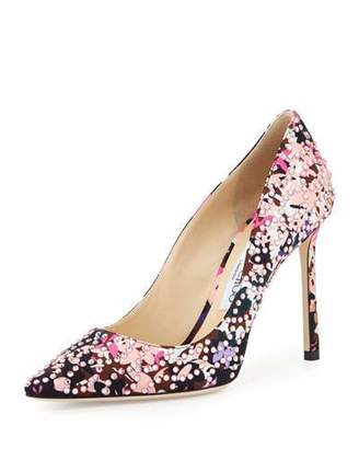 Jimmy Choo Romy Floral Pointed-Toe 100mm Pump, Dahlia/Brown $1,050 thestylecure.com