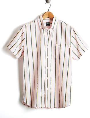Todd Snyder Short Sleeve Shirt in Pink/Yellow Vertical Stripe