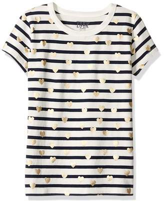 Look By Crewcuts LOOK by crewcuts Girls' Short Sleeve Heart Stripe T-Shirt Green/Silver XX-Large (14)