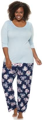 Gloria Vanderbilt Plus Size Lace Tee & Pants Pajama Set