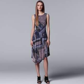 Vera Wang Women's Simply Vera Print Asymmetrical Midi Dress