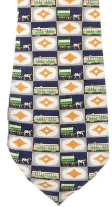 Givenchy Cable Car Print Silk Tie