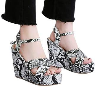 Sinzelimin Wedge High Heels Women Pumps Buckle Strap Leopard Platform Shoes Peep Toe Shoes