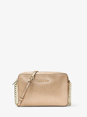 Michael Kors Jet Set Travel Large Metallic Leather Crossbody