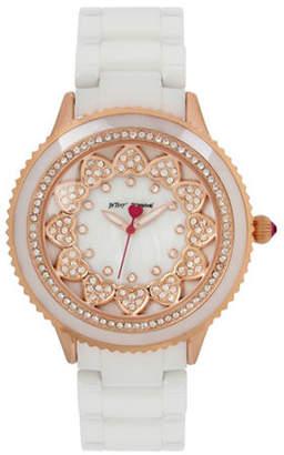 Betsey Johnson Layered Heart Rose Goldtone Metal White Ceramic Link Bracelet Watch