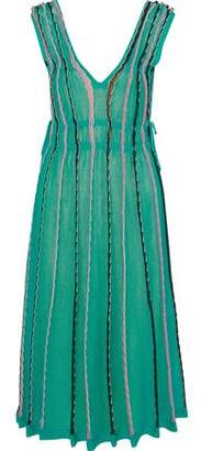 M Missoni Lace-Up Cutout Striped Midi Dress