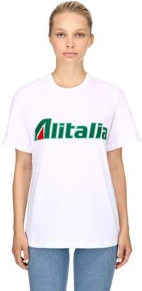 Alberta Ferretti Alitalia Patches Cotton Jersey T-Shirt