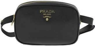 Prada Belt Bag Pouch In Laminated Saffiano Leather With Metallic Logo
