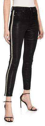 7 For All Mankind High-Waist Ankle Skinny Jeans with Side Stripes