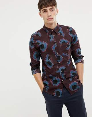 Paul Smith tailored fit abstract floral print shirt in burgundy