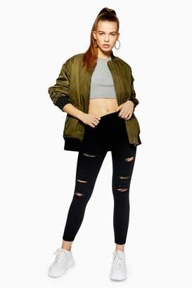Topshop Womens Petite Black Super Rip Joni Jeans - Black