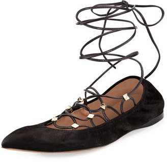 Valentino Rockstud Lace-Up Ballerina Flat, Nero $895 thestylecure.com