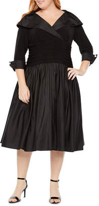 R & M Richards 3/4 Sleeve Fit & Flare Collar Dress - Plus