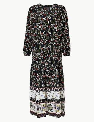 Marks and Spencer Floral Border Print Relaxed Midi Dress