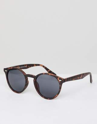 New Look Round Sunglasses In Brown Tort