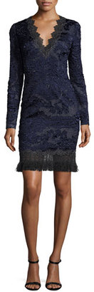 Elie Tahari Camden Long-Sleeve Lace Dress w/ Fringe Hem, Navy $598 thestylecure.com