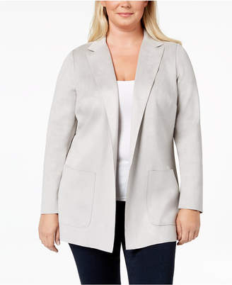 Charter Club Plus Size Faux-Suede Blazer, Created for Macy's