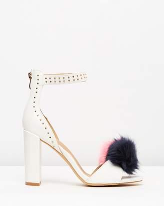 Missguided Pom Pom Block Heel Sandals