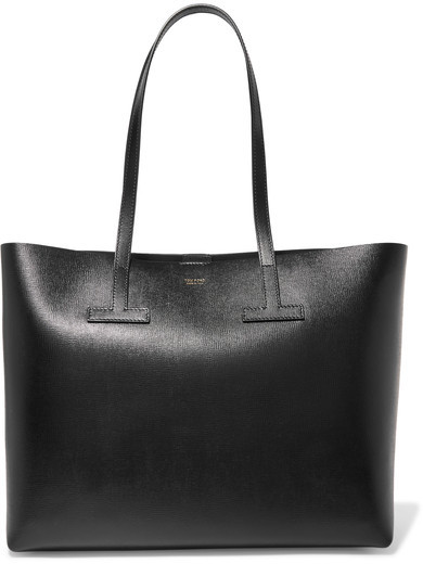 TOM FORD - T Textured-leather Tote - Black