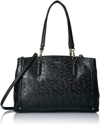 Calvin Klein Hudson Patent Emboss Triple Entry Satchel Satchel Bag, BLK/GOLD