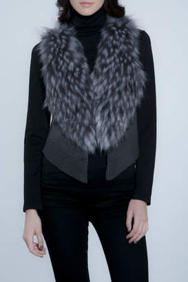 METRIC Faux Fur/Knit Crop Vest