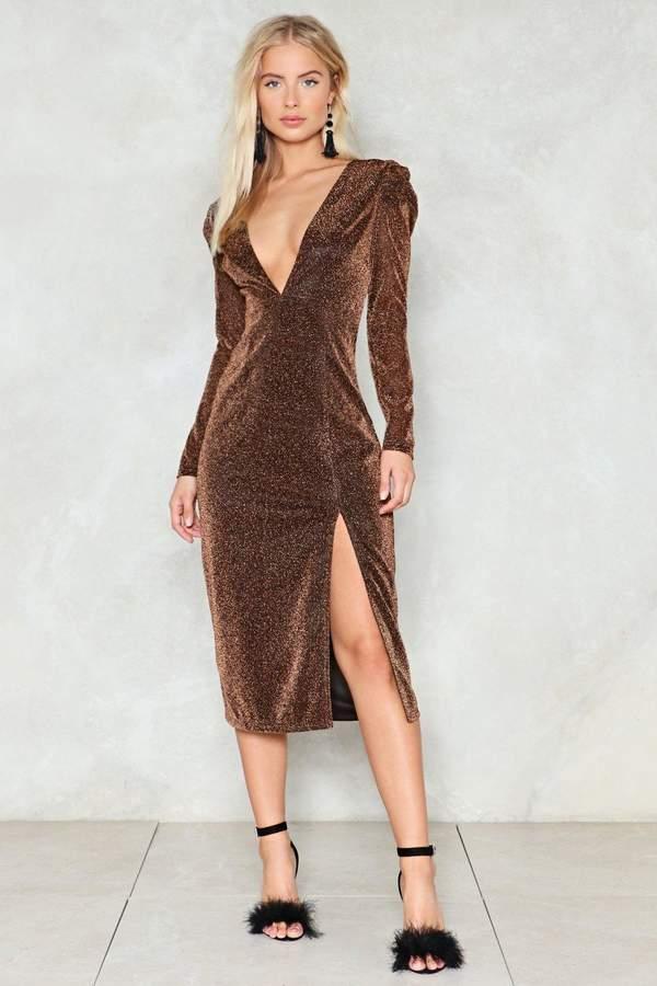 nastygal What's Going Down Glitter Dress