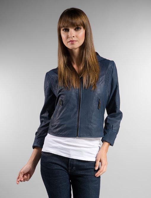 DOMA Hooded Leather 3/4 Sleeve Jacket