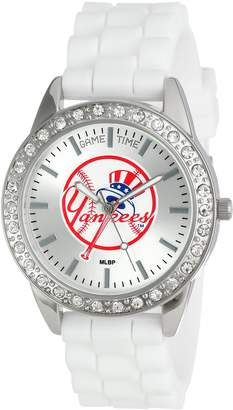 "Game Time Women's MLB-FRO-NY5 Frost MLB Series New York Yankees ""Tophat"" Logo 3-Hand Analog Watch"