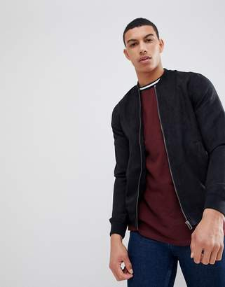 Pull&Bear Faux Suede Bomber Jacket In Black