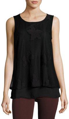 Bobeau Lace-Overlay Knit Tank, Black $35 thestylecure.com