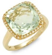 Effy 14K Yellow Gold, Green Amethyst & Diamond Ring