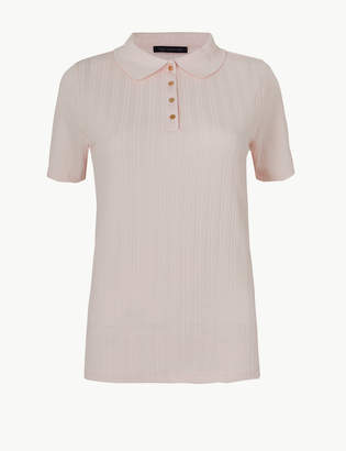 Marks and Spencer Textured Short Sleeve Polo Shirt
