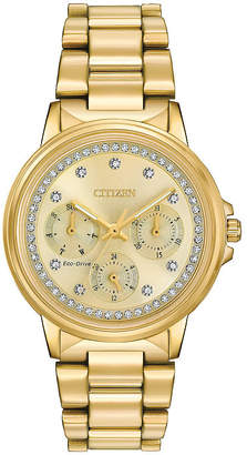 Citizen Eco-Drive Womens Gold Tone Silhouette Crystal Watch Fd2042-51P