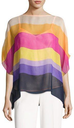 Trina Turk Marlette Sheer Striped Silk Blouse