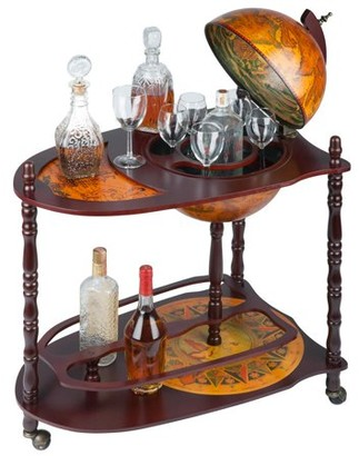 Toscano Design Old World Extended Shelf Italian Replica Globe Bar Cart