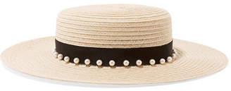 Eugenia Kim Colette Faux Pearl-embellished Hemp-blend Boater - Beige