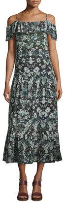 Iro Yonelia Floral Ruffle-Trim Midi Dress, Multicolor $450 thestylecure.com