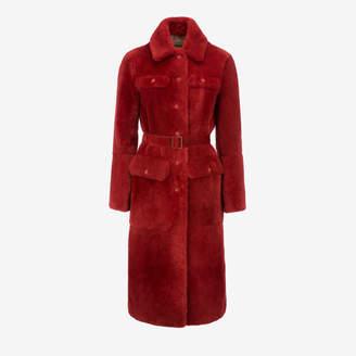Bally Beaver Fur Belted Coat