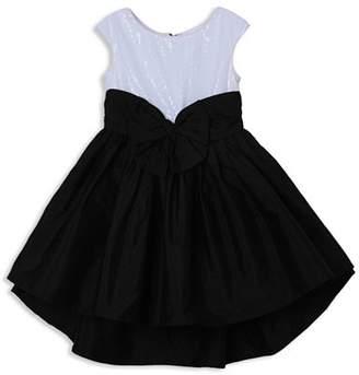 Pippa & Julie Girls' Sequin Contrast Bow Dress - Little Kid