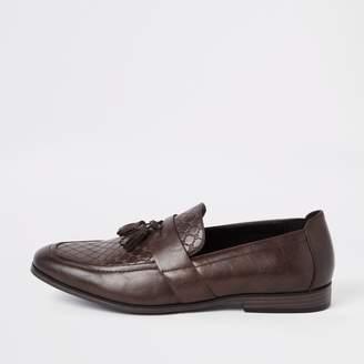 River Island Mens Brown wide fit RI monogram tassel loafers