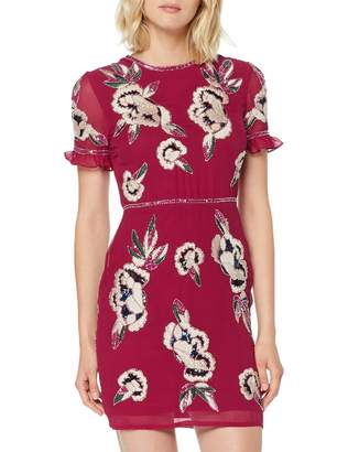 Frock and Frill Women's Ginny Frill Sleeve Embellished Mini Dress Party (Persian Red #A1224a) (Size:12)